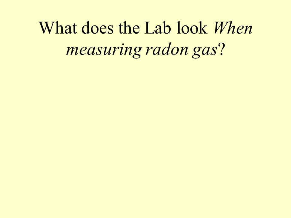 What does the Lab look When measuring radon gas