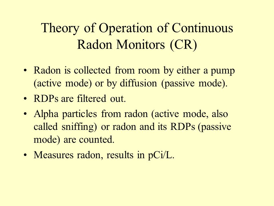 Theory of Operation of Continuous Radon Monitors (CR)