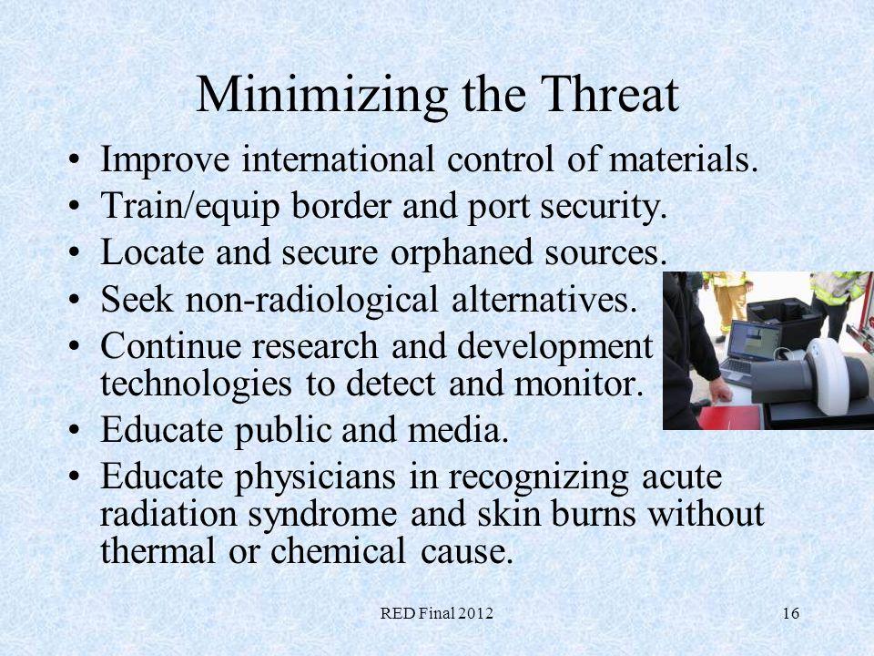 Minimizing the Threat Improve international control of materials.