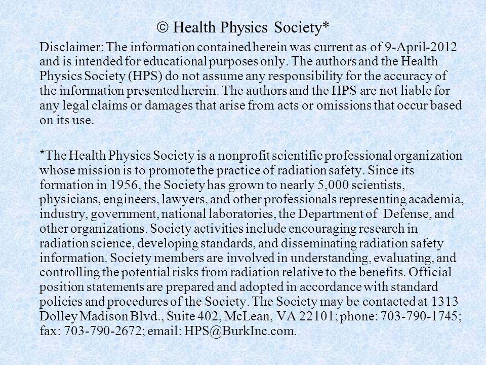  Health Physics Society*