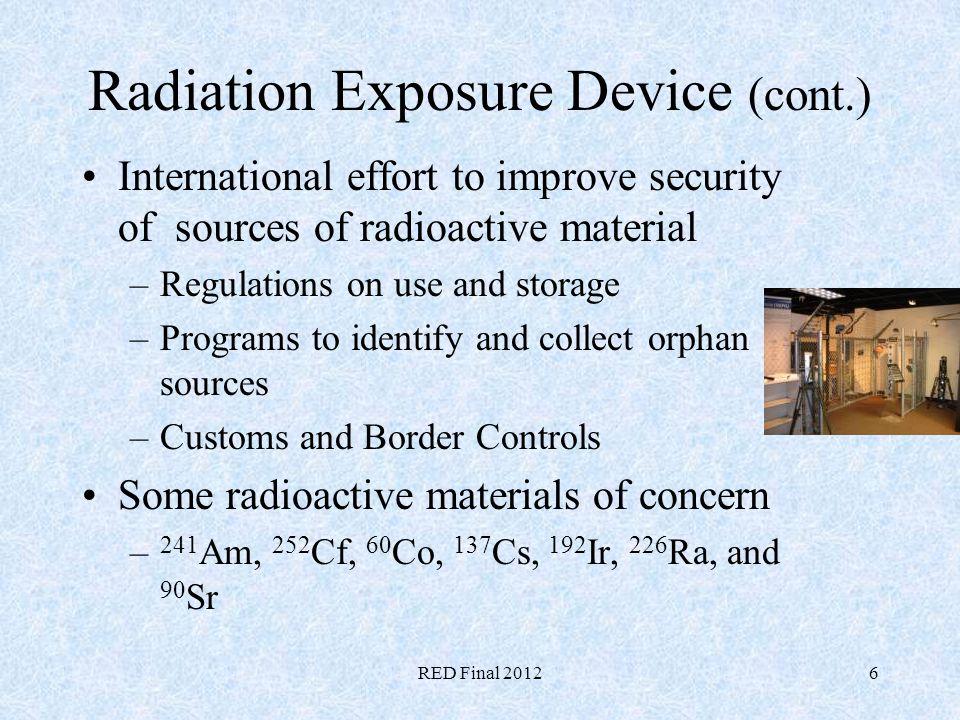 Radiation Exposure Device (cont.)