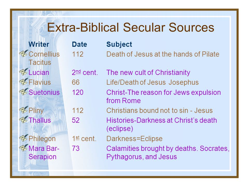 Extra-Biblical Secular Sources