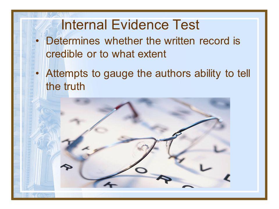 Internal Evidence Test