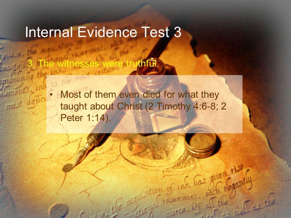 Internal Evidence Test 3