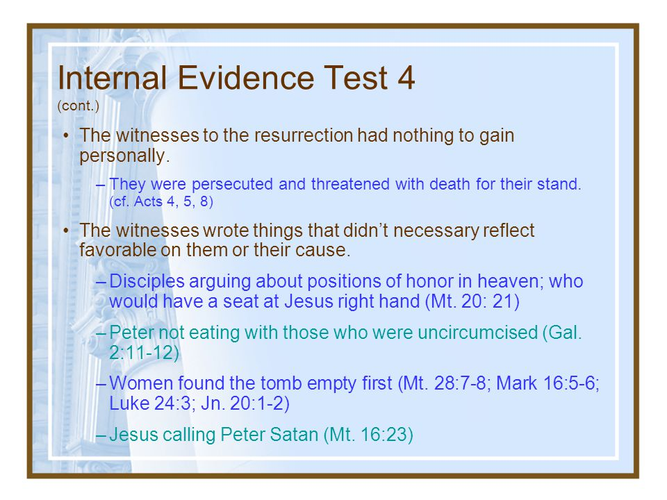 Internal Evidence Test 4 (cont.)