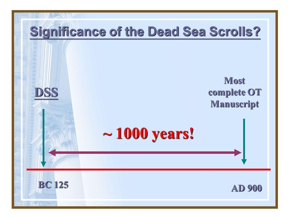 Significance of the Dead Sea Scrolls Most complete OT Manuscript