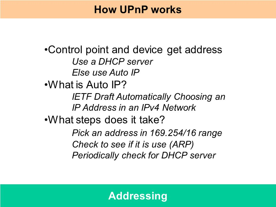 How UPnP works Addressing