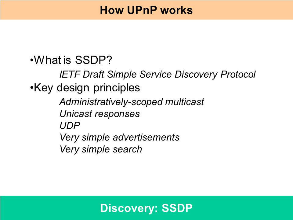 How UPnP works Discovery: SSDP