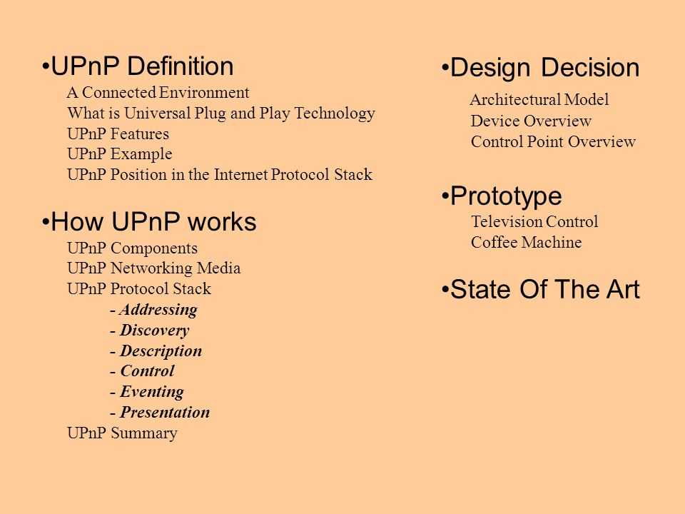 UPnP Definition Design Decision Prototype How UPnP works