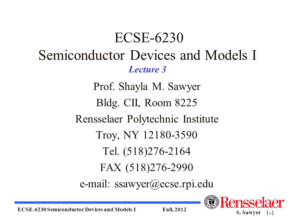 ECSE-6230 Semiconductor Devices and Models I Lecture 3
