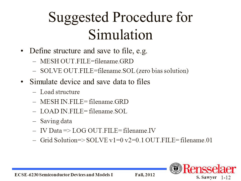 Suggested Procedure for Simulation