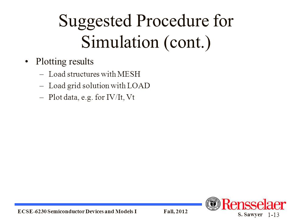 Suggested Procedure for Simulation (cont.)