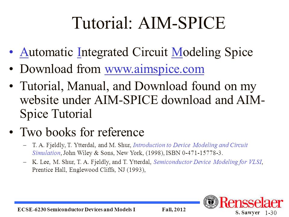 Tutorial: AIM-SPICE Automatic Integrated Circuit Modeling Spice
