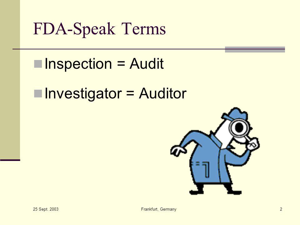 FDA-Speak Terms Inspection = Audit Investigator = Auditor
