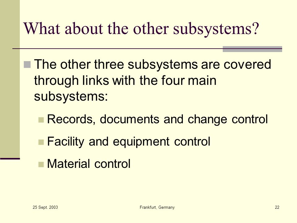 What about the other subsystems