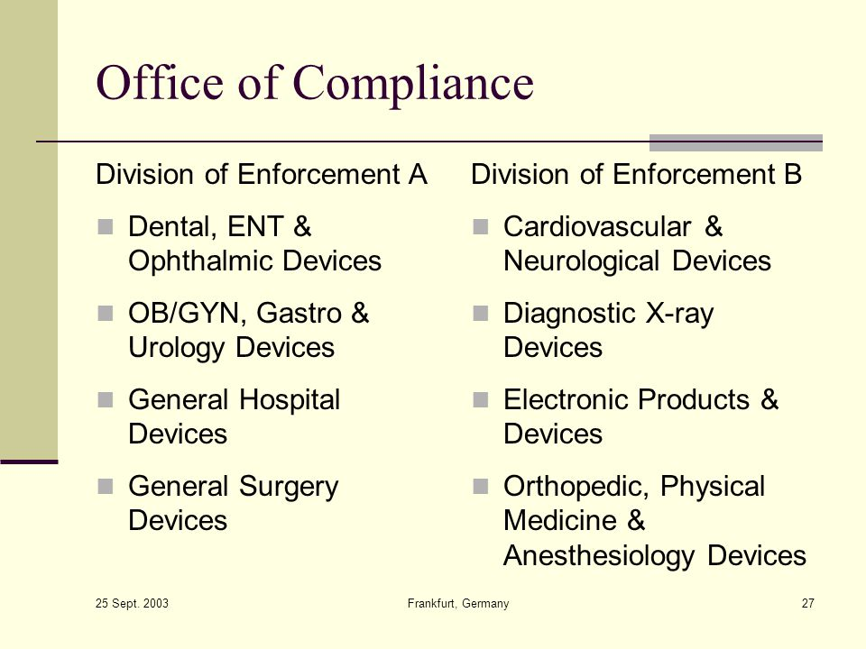 Office of Compliance Division of Enforcement A