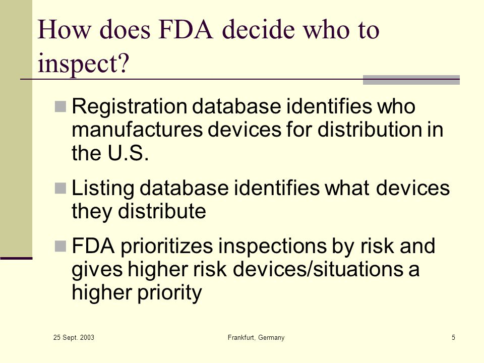 How does FDA decide who to inspect