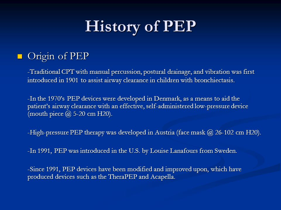 History of PEP Origin of PEP