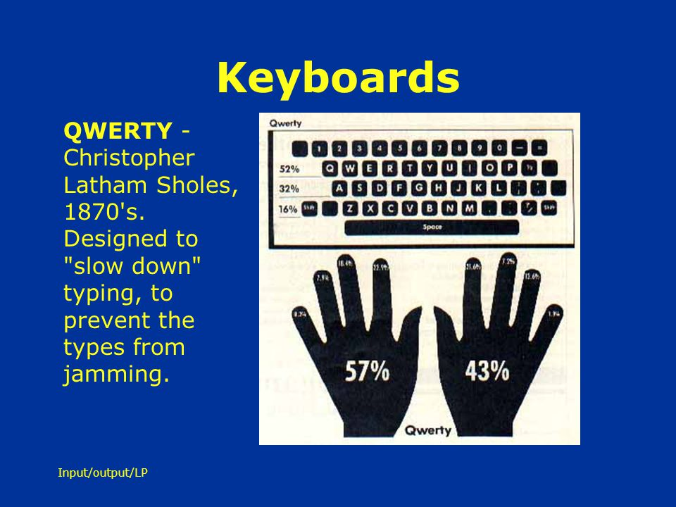 Keyboards QWERTY - Christopher Latham Sholes, 1870 s. Designed to slow down typing, to prevent the types from jamming.