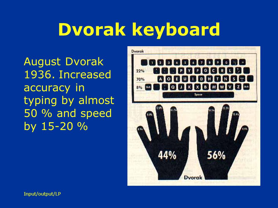 Dvorak keyboard August Dvorak 1936. Increased accuracy in typing by almost 50 % and speed by 15-20 %