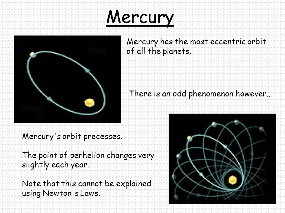 Mercury Mercury has the most eccentric orbit of all the planets.