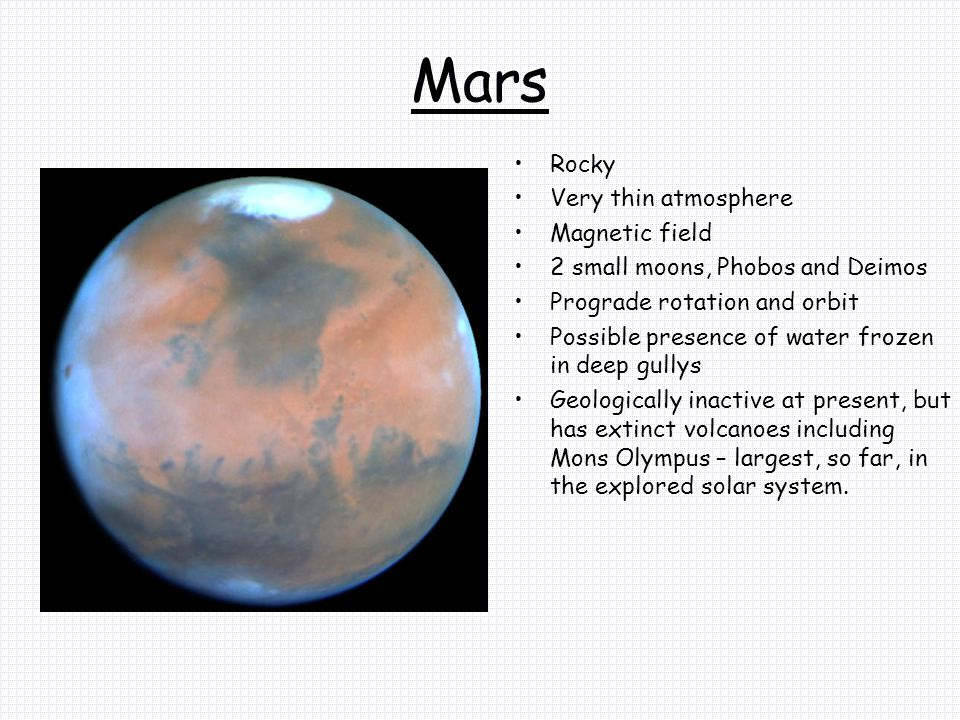Mars Rocky Very thin atmosphere Magnetic field