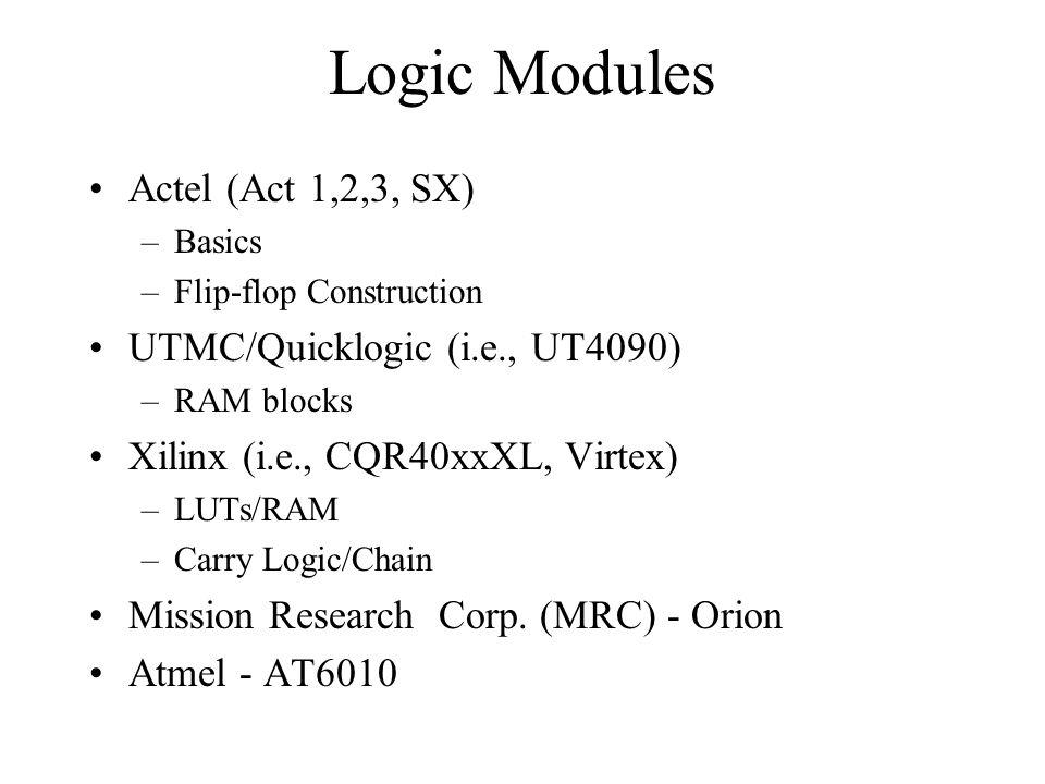 Logic Modules Actel (Act 1,2,3, SX) UTMC/Quicklogic (i.e., UT4090)