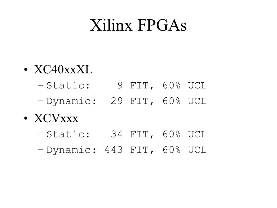 Xilinx FPGAs XC40xxXL XCVxxx Static: 9 FIT, 60% UCL
