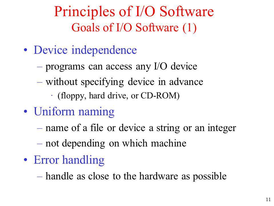 Principles of I/O Software Goals of I/O Software (1)