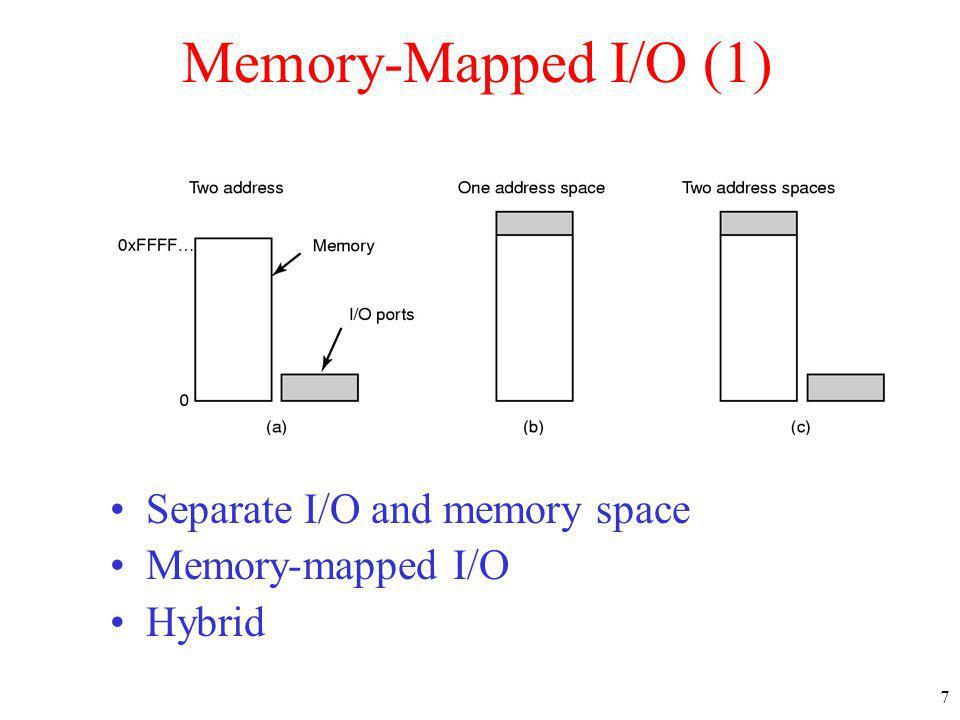 Memory-Mapped I/O (1) Separate I/O and memory space Memory-mapped I/O
