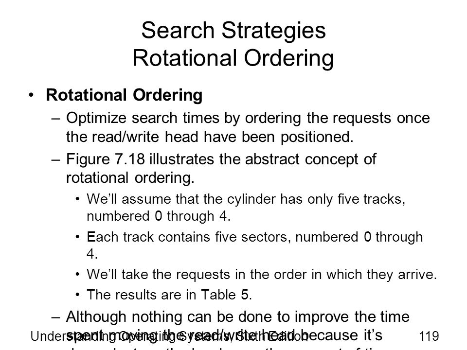Search Strategies Rotational Ordering