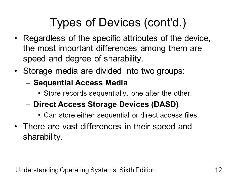Types of Devices (cont d.)