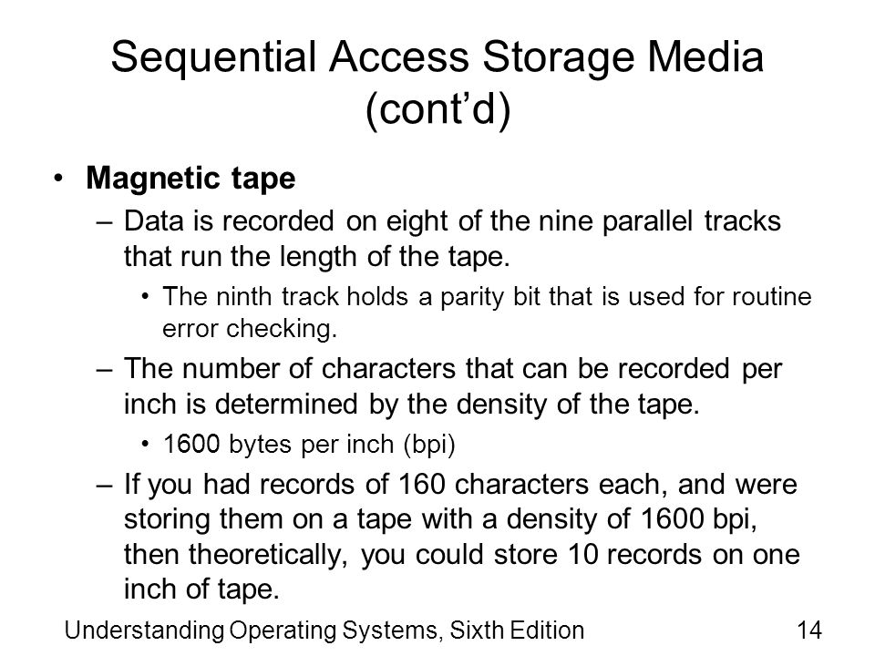 Sequential Access Storage Media (cont'd)