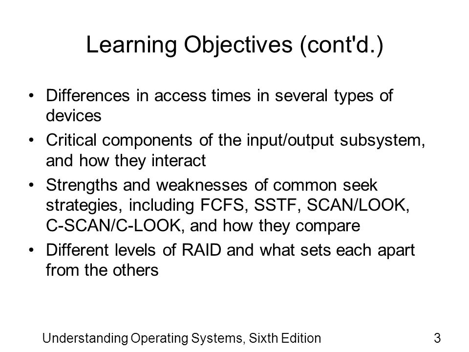 Learning Objectives (cont d.)