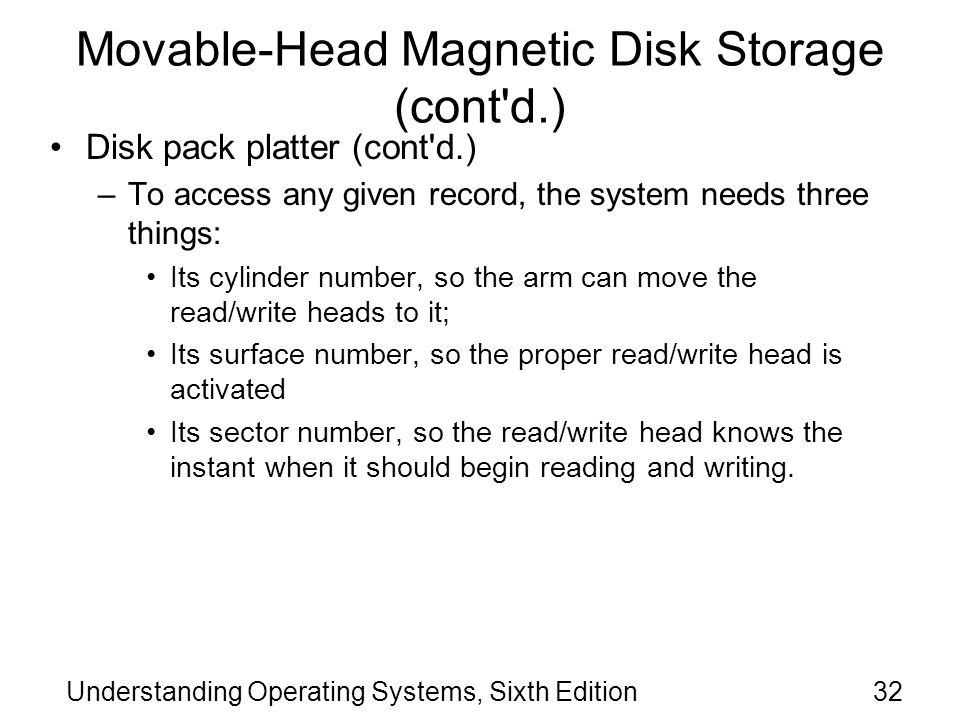 Movable-Head Magnetic Disk Storage (cont d.)