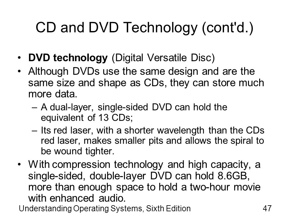 CD and DVD Technology (cont d.)