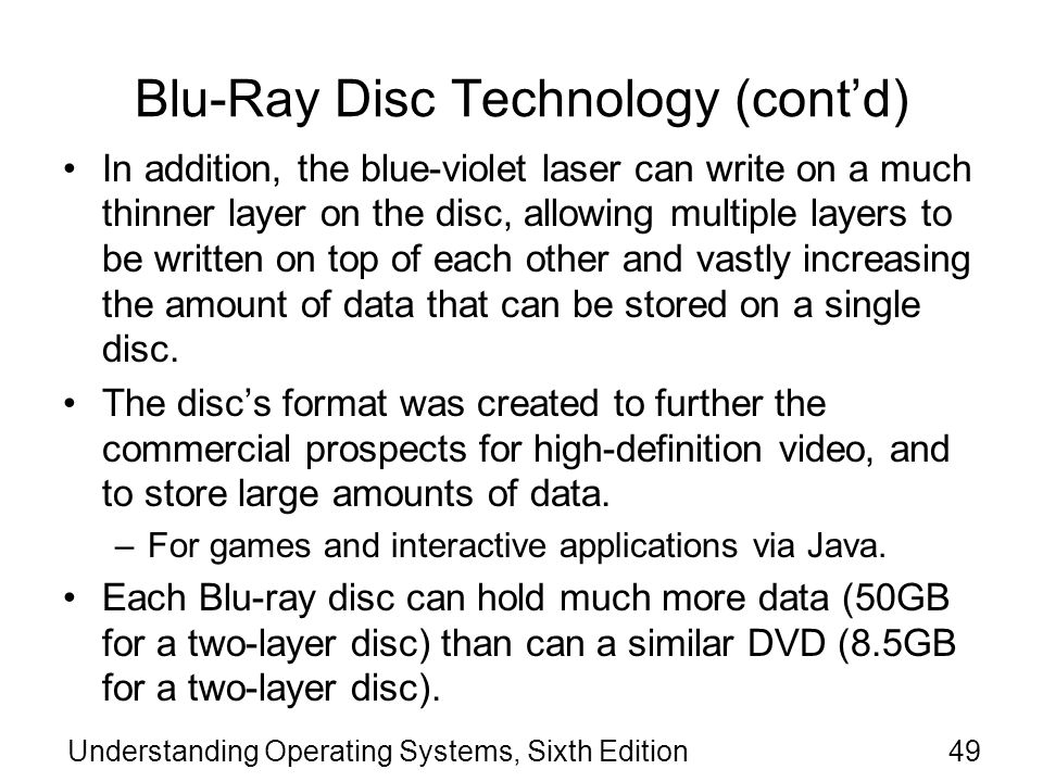 Blu-Ray Disc Technology (cont'd)