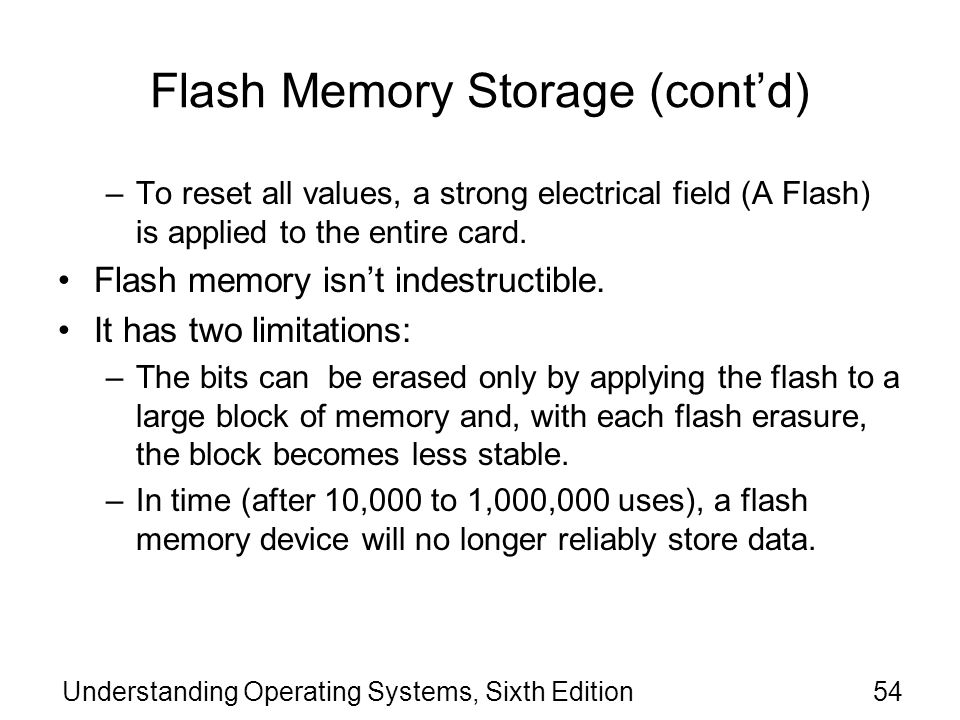 Flash Memory Storage (cont'd)