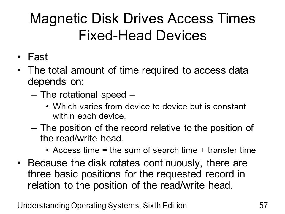 Magnetic Disk Drives Access Times Fixed-Head Devices