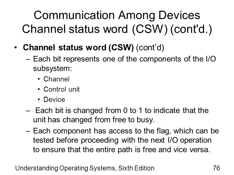 Communication Among Devices Channel status word (CSW) (cont d.)