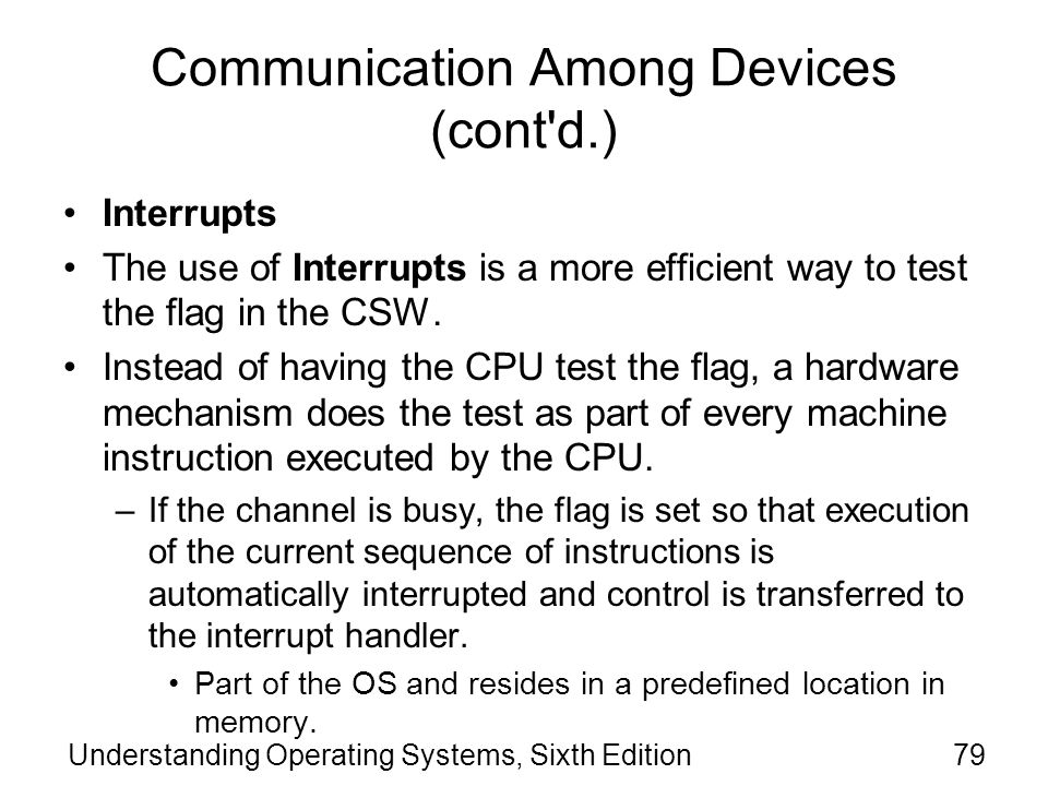 Communication Among Devices (cont d.)
