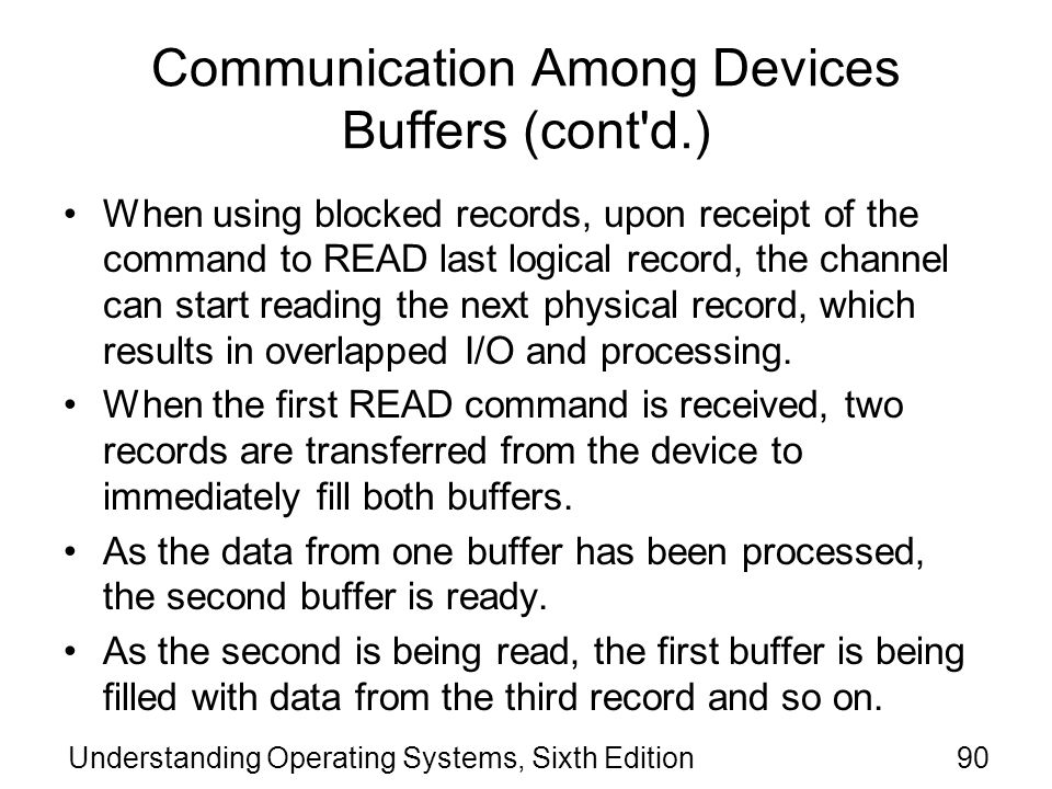 Communication Among Devices Buffers (cont d.)