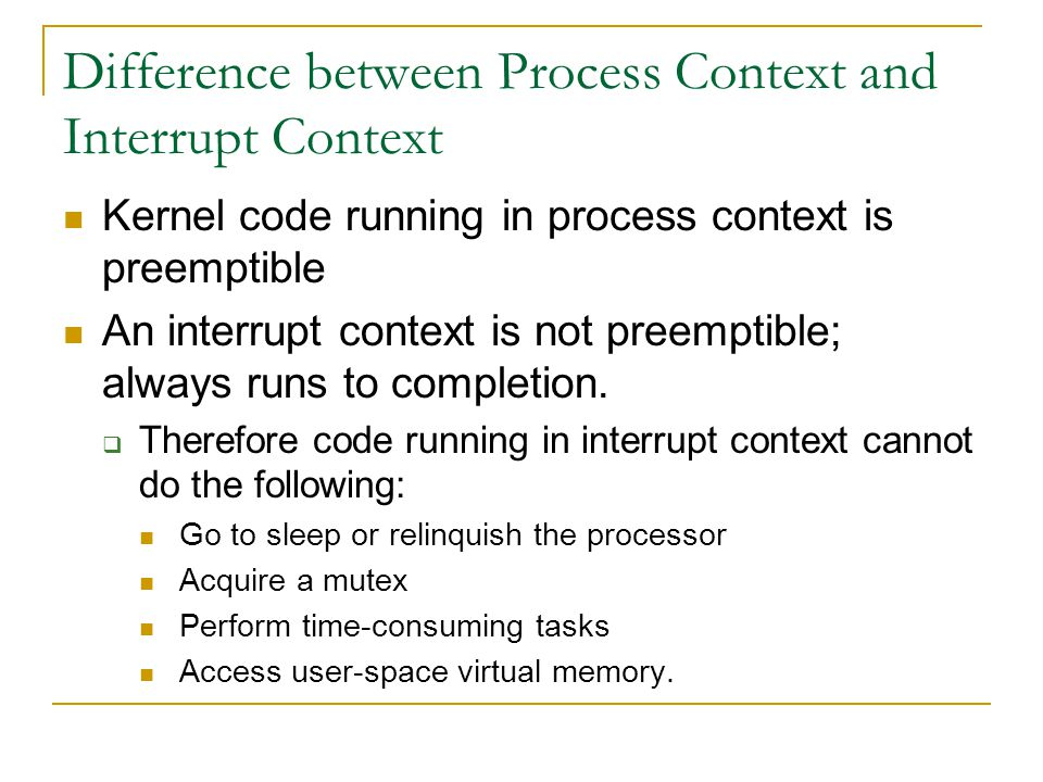 Difference between Process Context and Interrupt Context