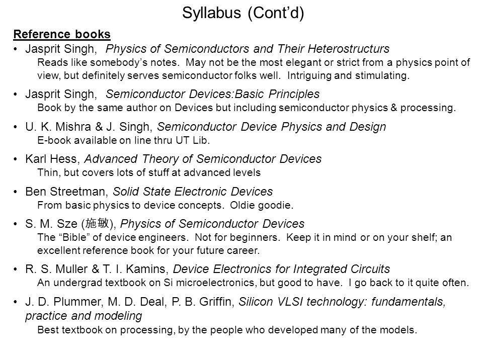 Syllabus (Cont'd) Reference books