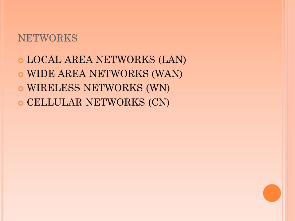 networks LOCAL AREA NETWORKS (LAN) WIDE AREA NETWORKS (WAN)