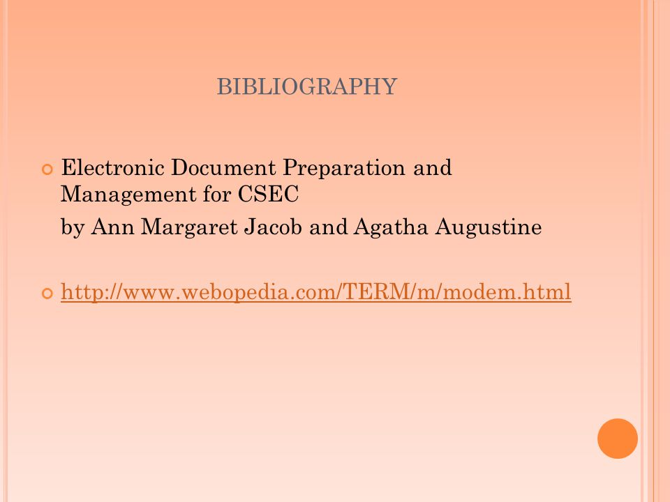 bibliography Electronic Document Preparation and Management for CSEC