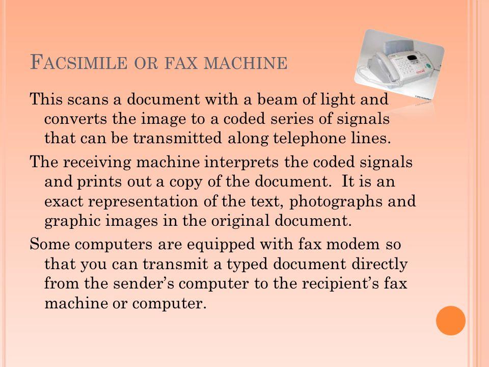 Facsimile or fax machine