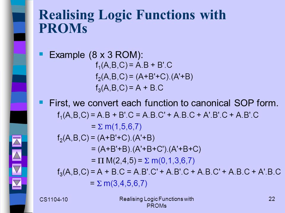 Realising Logic Functions with PROMs