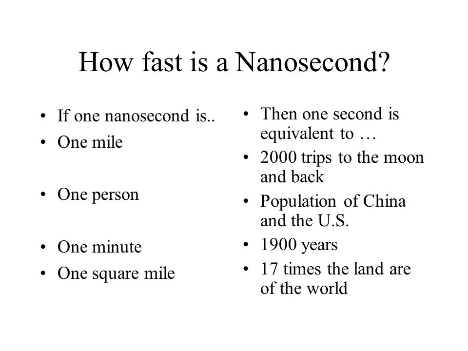 How fast is a Nanosecond