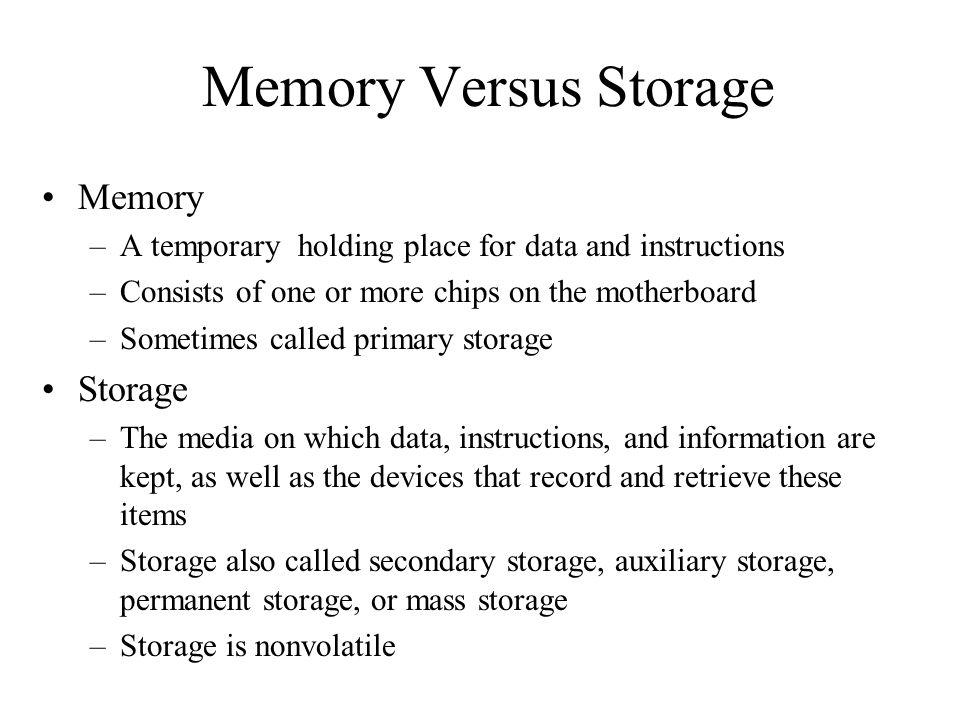 Memory Versus Storage Memory Storage